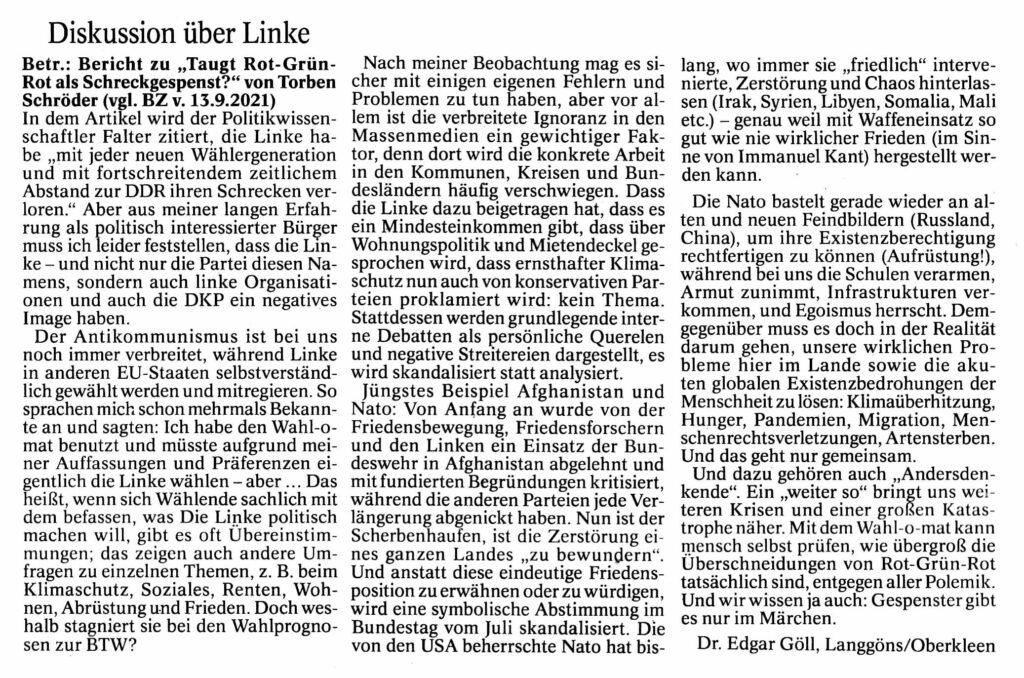 Butzbacher Zeitung Leserbrief über Linke